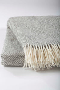 Grey Patterned Wool Blanket