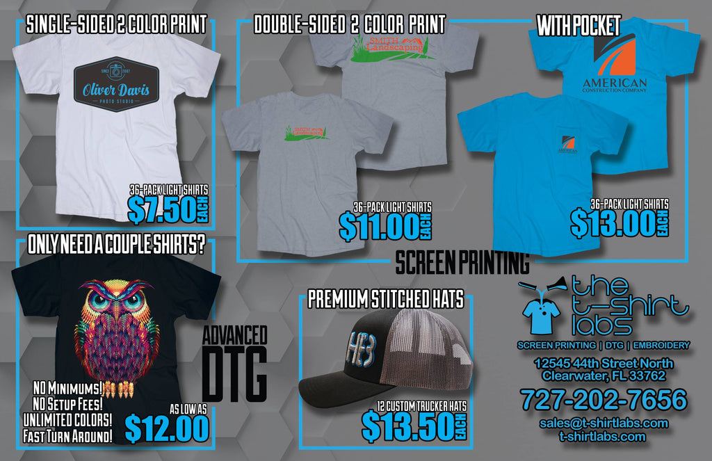 T-Shirt Labs - Servicing all of Tampa Bay - Custom T-Shirts Specials
