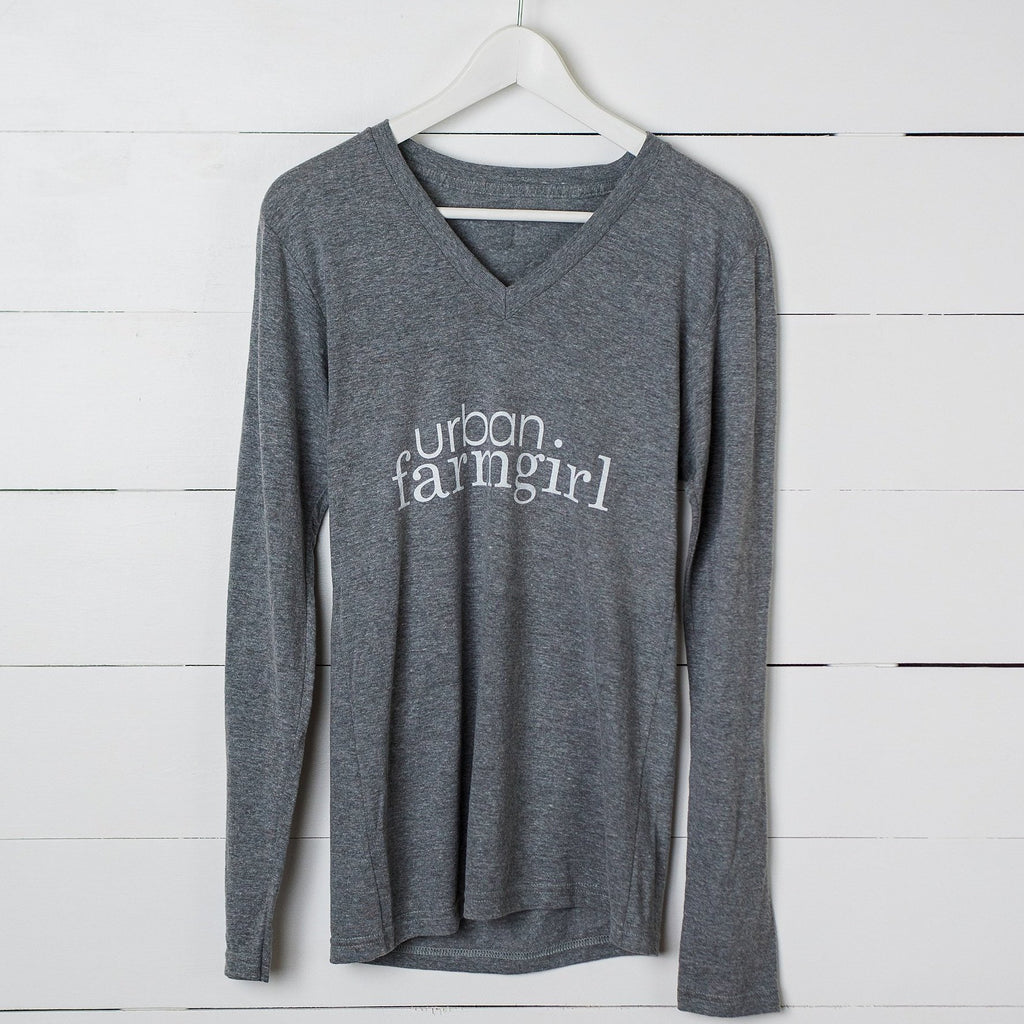 Gray V-Neck Long Sleeve Urban Farmgirl T-Shirt