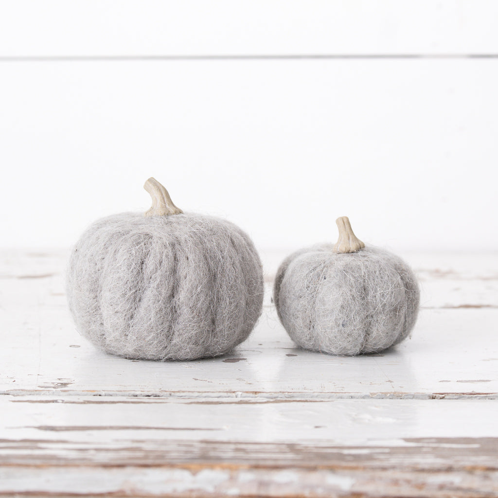 Light Gray Wool Pumpkins