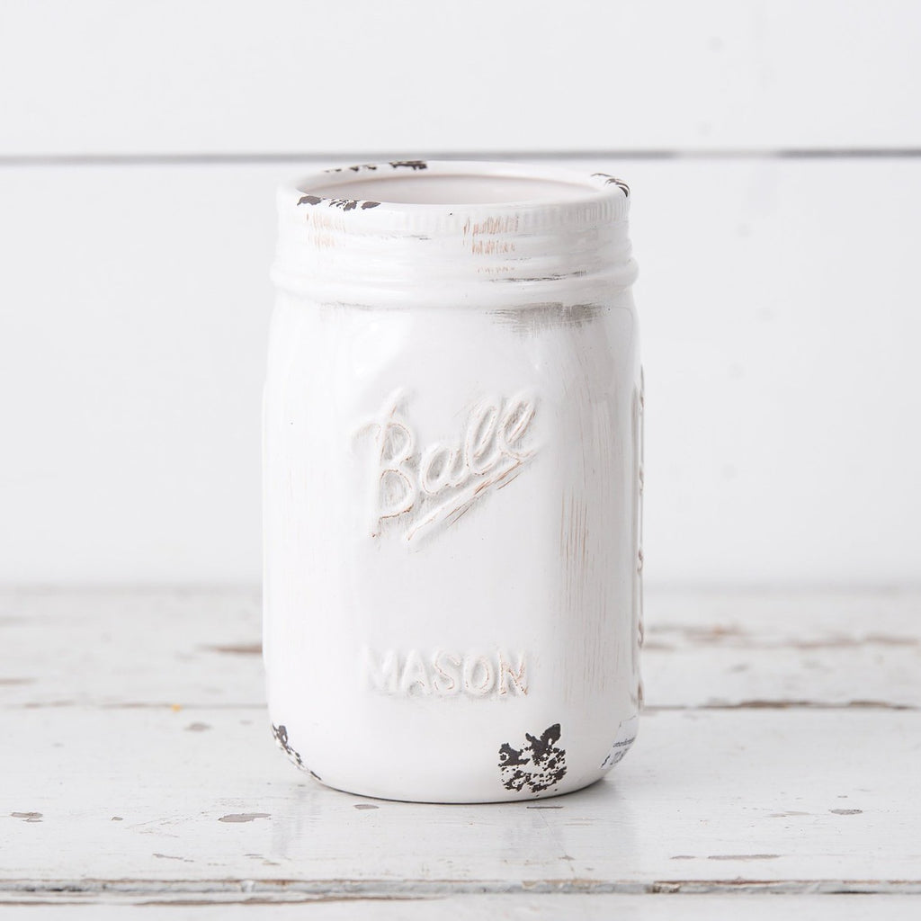 White Ceramic Ball Jars