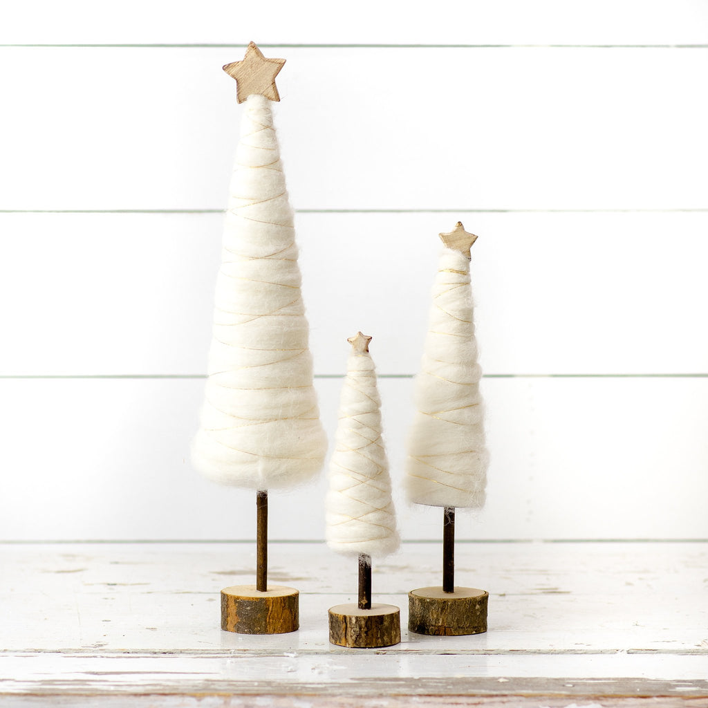 White Cotton Christmas Trees