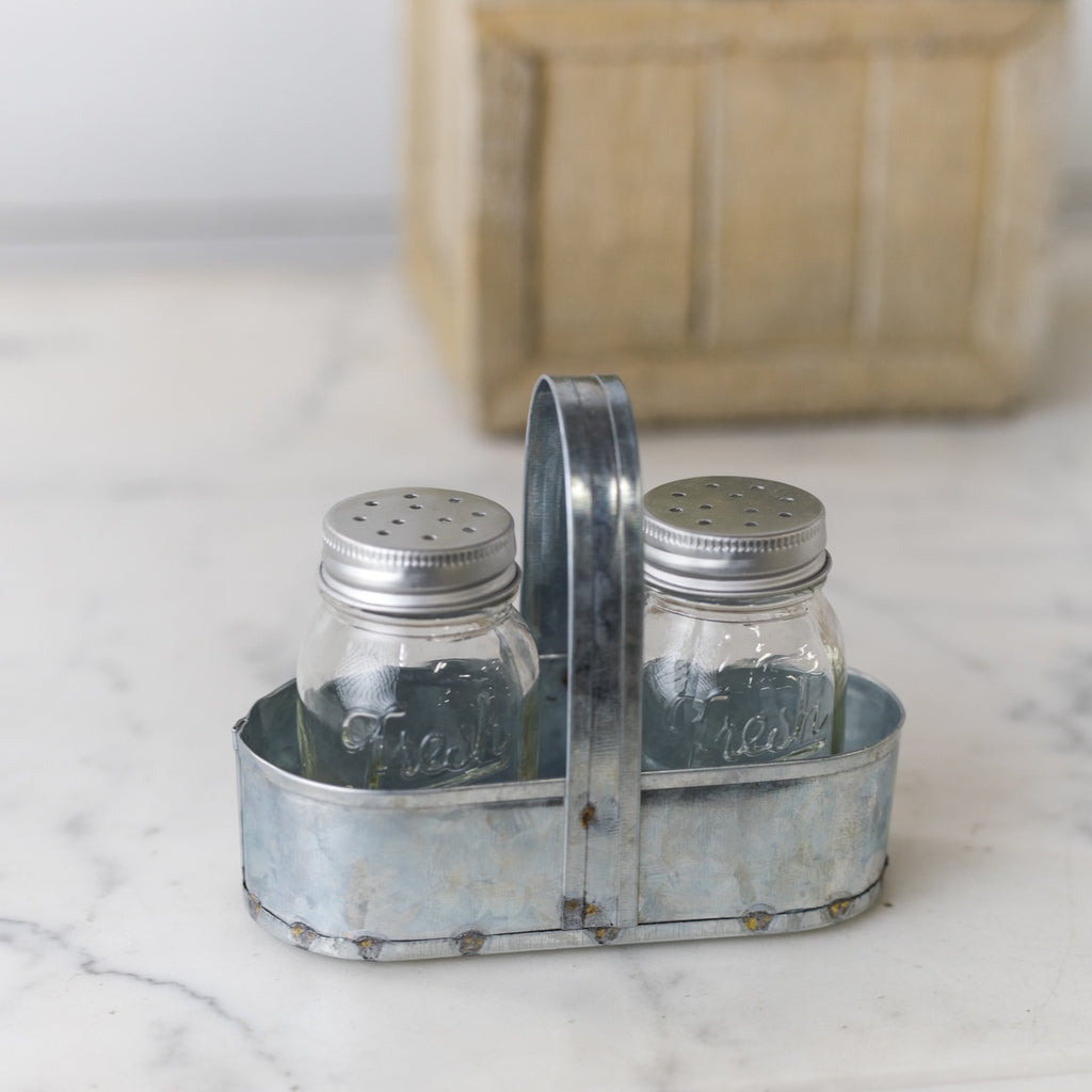 Salt & Pepper Shakers in Metal Caddy