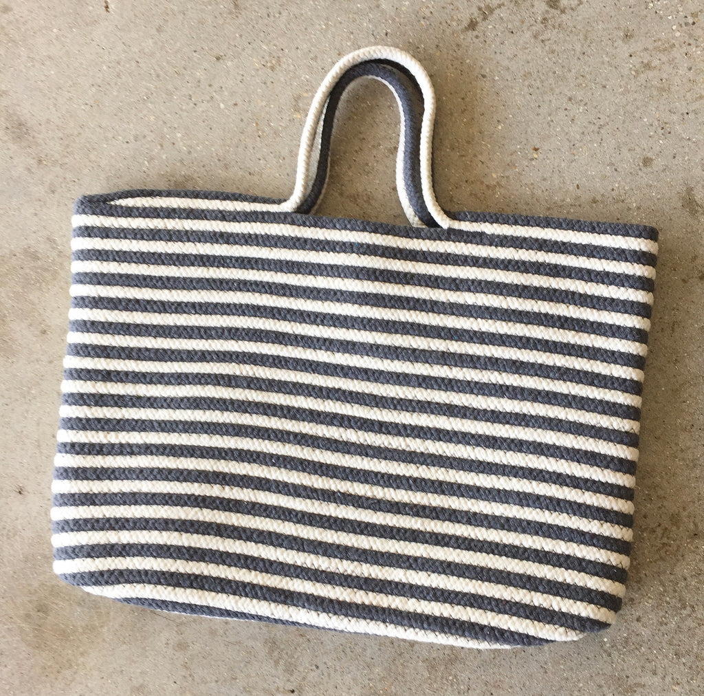 Gray and White Tote Bag