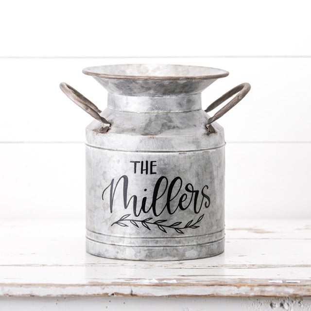 Large Personalized Galvanized Milk Can