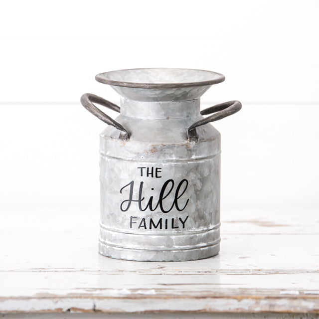 Small Personalized Galvanized Milk Can