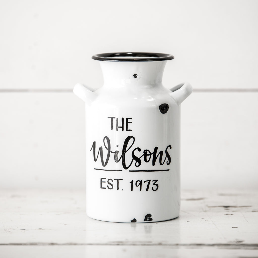 Small White Enamel Milk Can