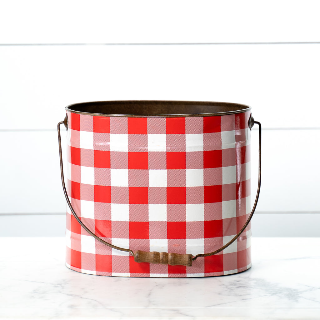 Red and White Buffalo Check Buckets