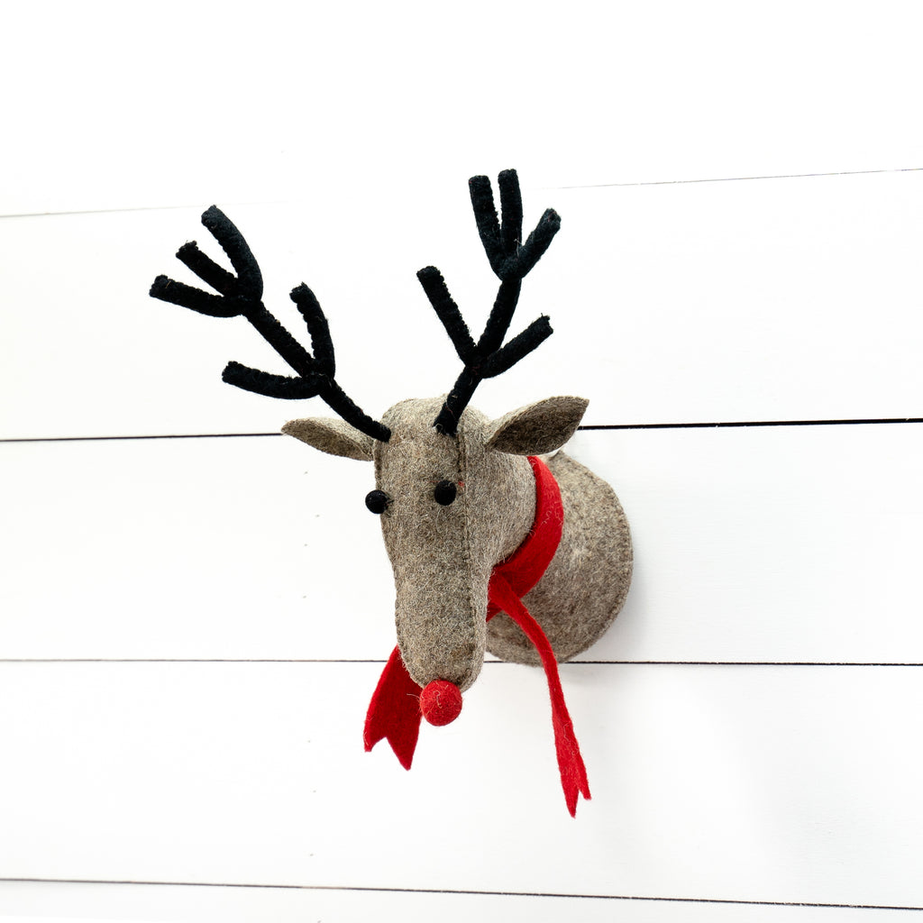Wool Reindeer Faux Mount