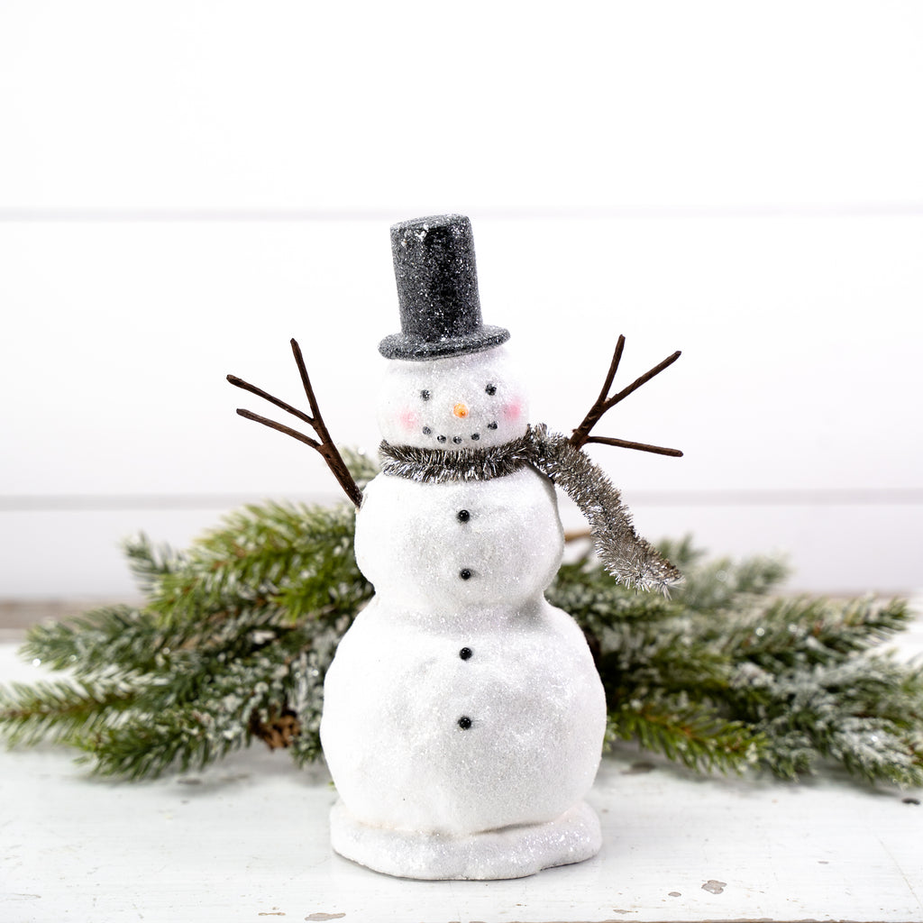 Modern Snowman with Black Hat