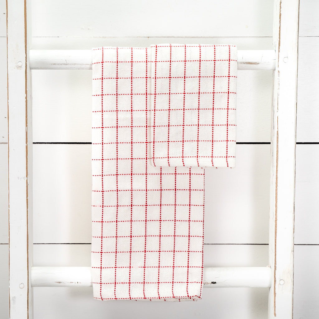 Red and White Kitchen Towel