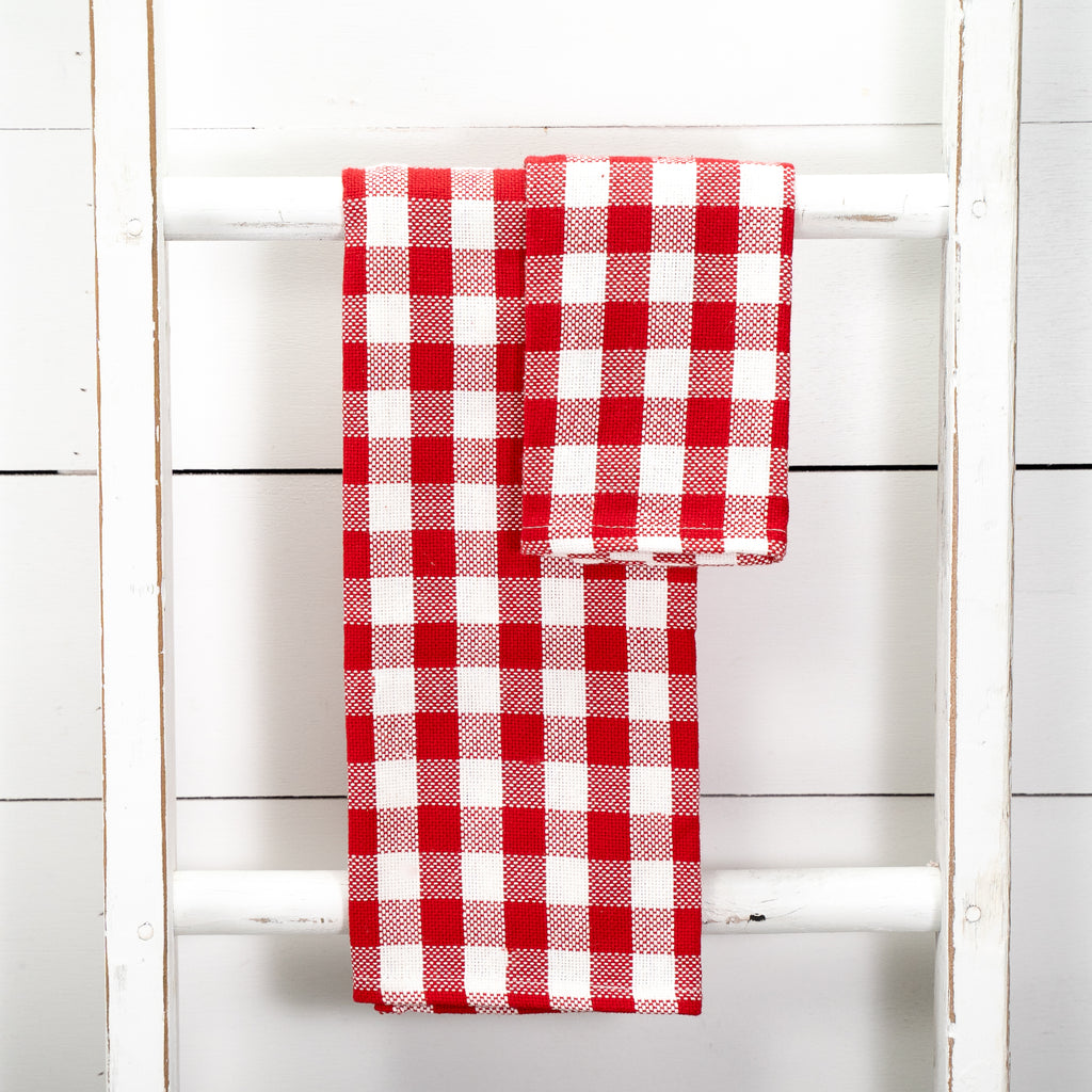 Red & White Buffalo Check Textured Kitchen Towels