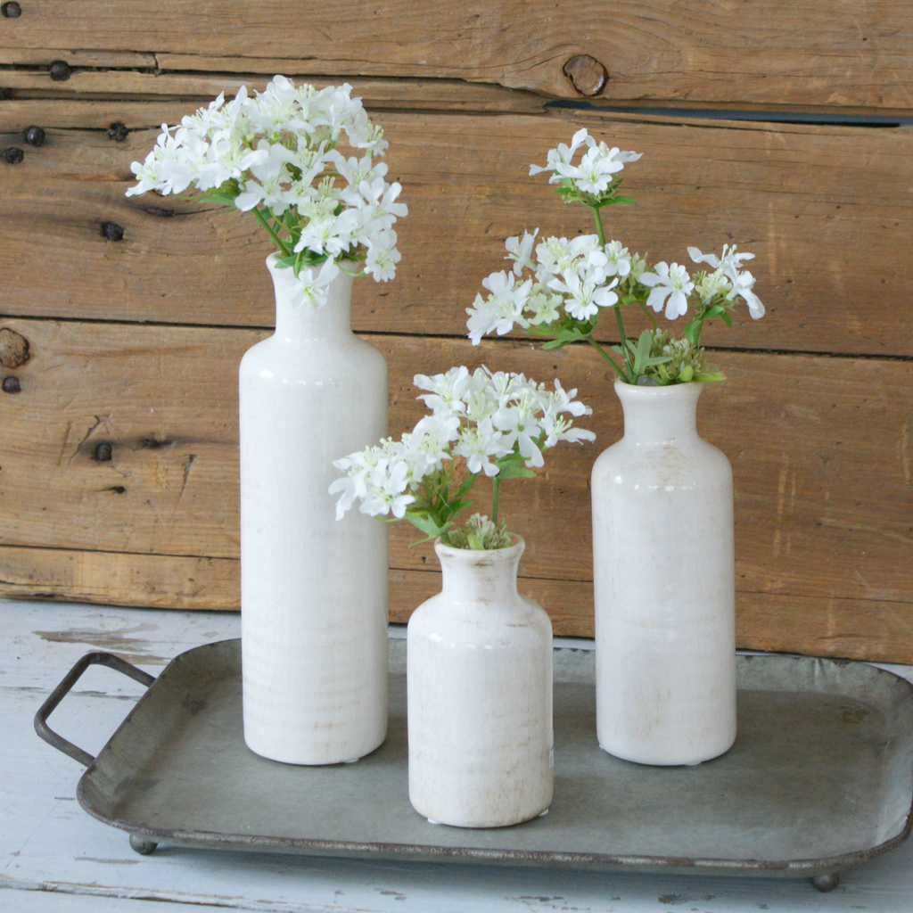 Cream Crackled Finish Vases