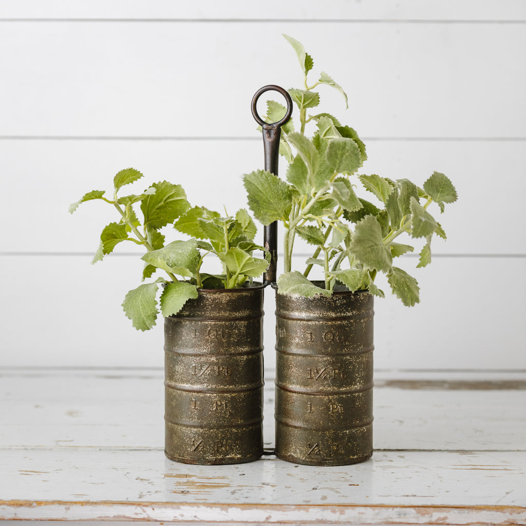 Double Measuring Cup Metal Vase/Planter