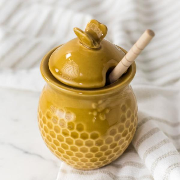 Honeycomb Honey Pot w/ Dipper