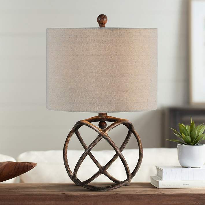 Antique Bronze Round Table Lamp