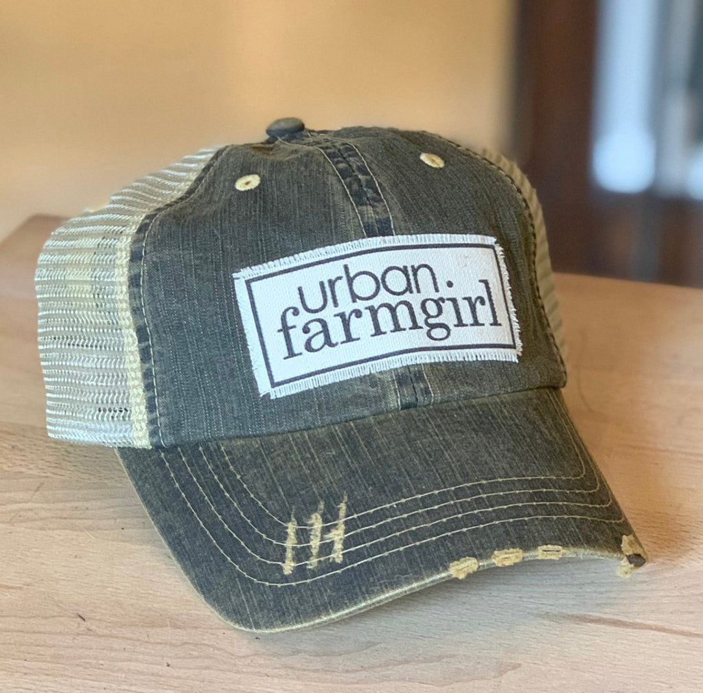 Washed Black Denim Urban Farmgirl Baseball Cap