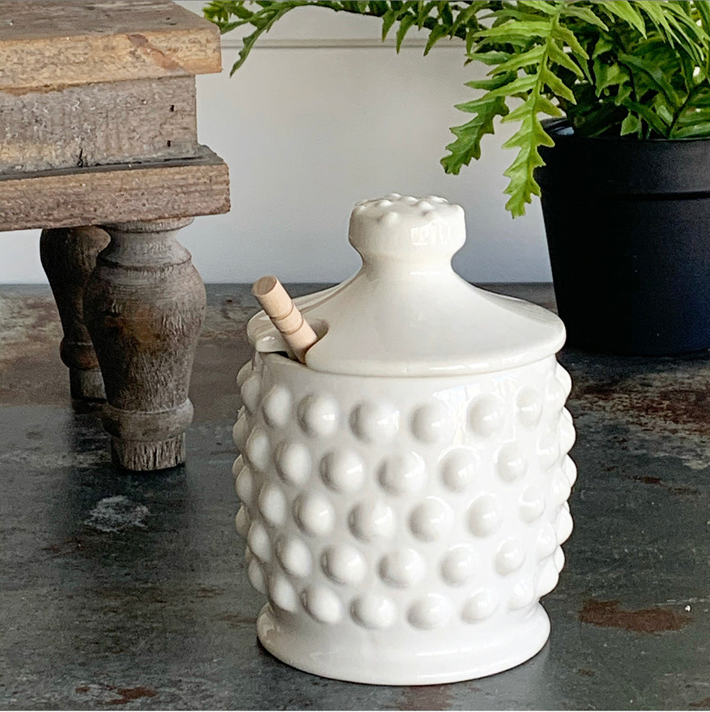 White Hobnail Honey Pot