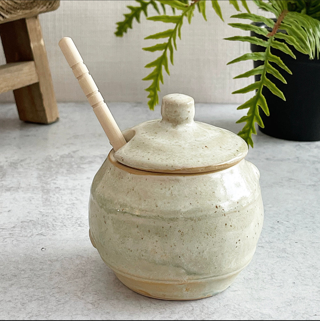 Glazed Pottery Honey Pot - Jam Jar
