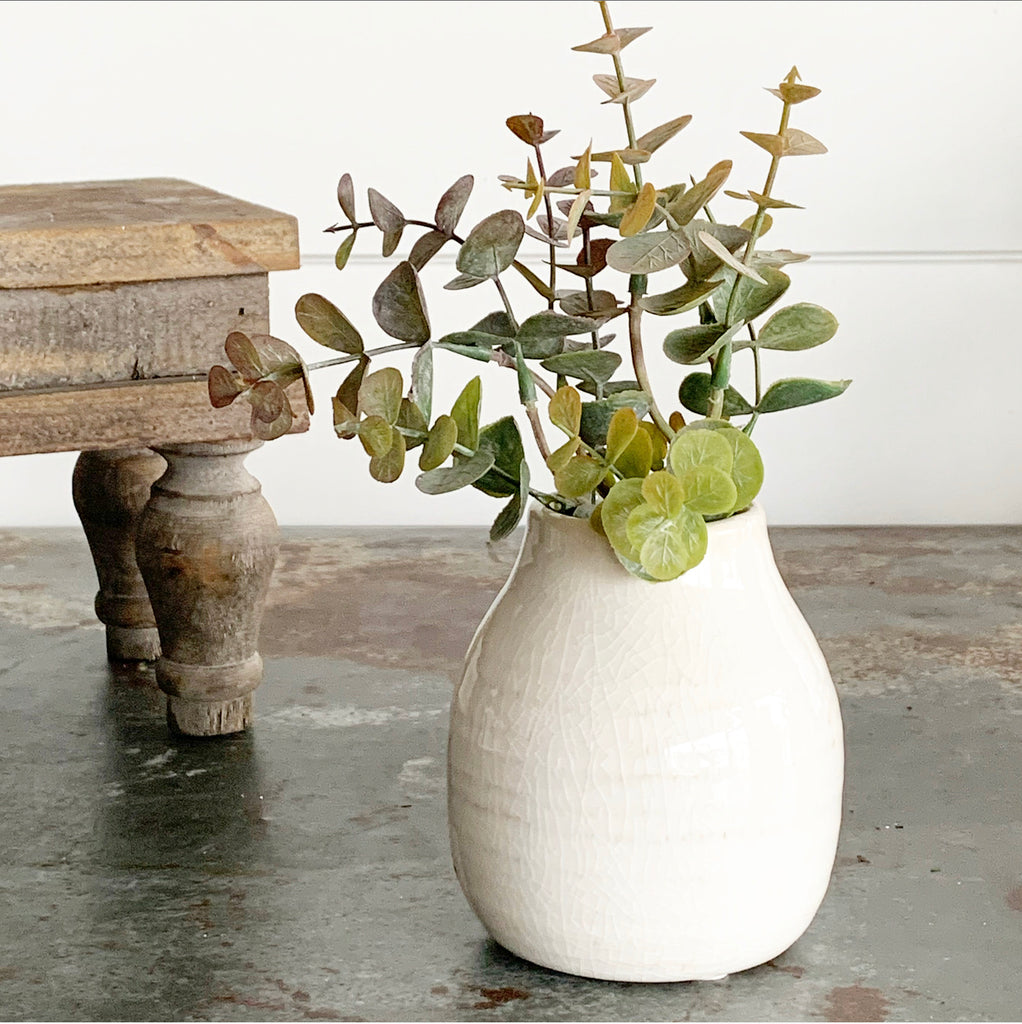 Cream Crackled Vase - Medium
