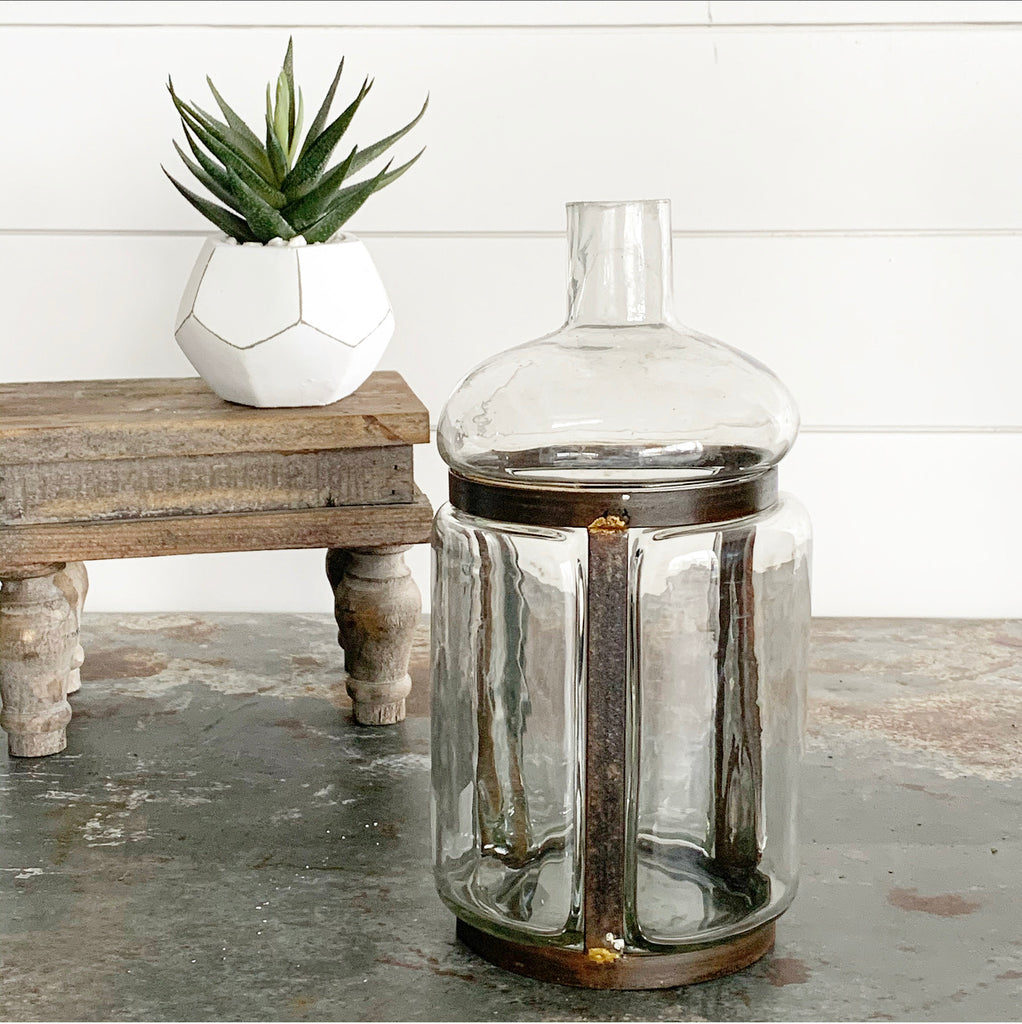 Modern Metal & Glass Vase - 3 sizes