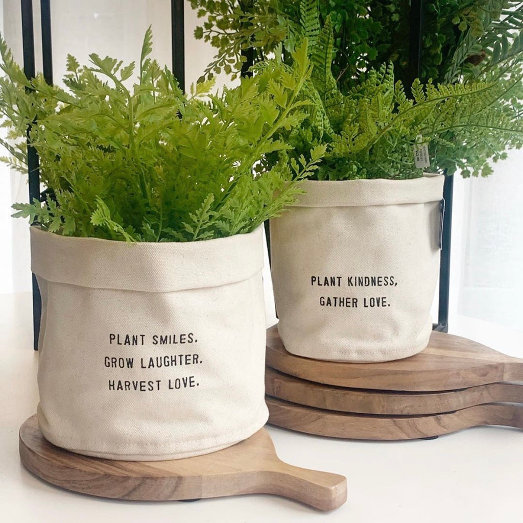 Canvas Planter w/Quote