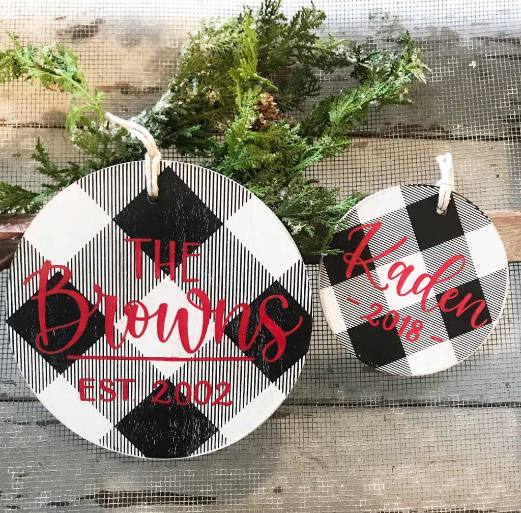 Personalized Buffalo Check Ornaments