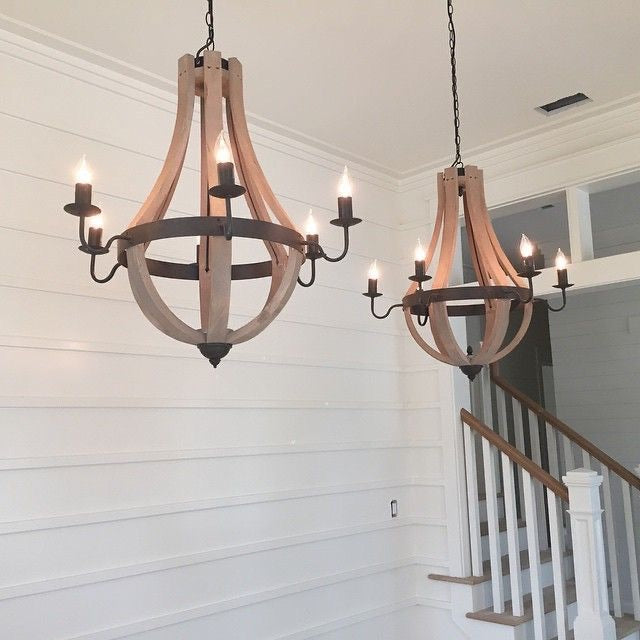 Wood Teardrop Chandelier