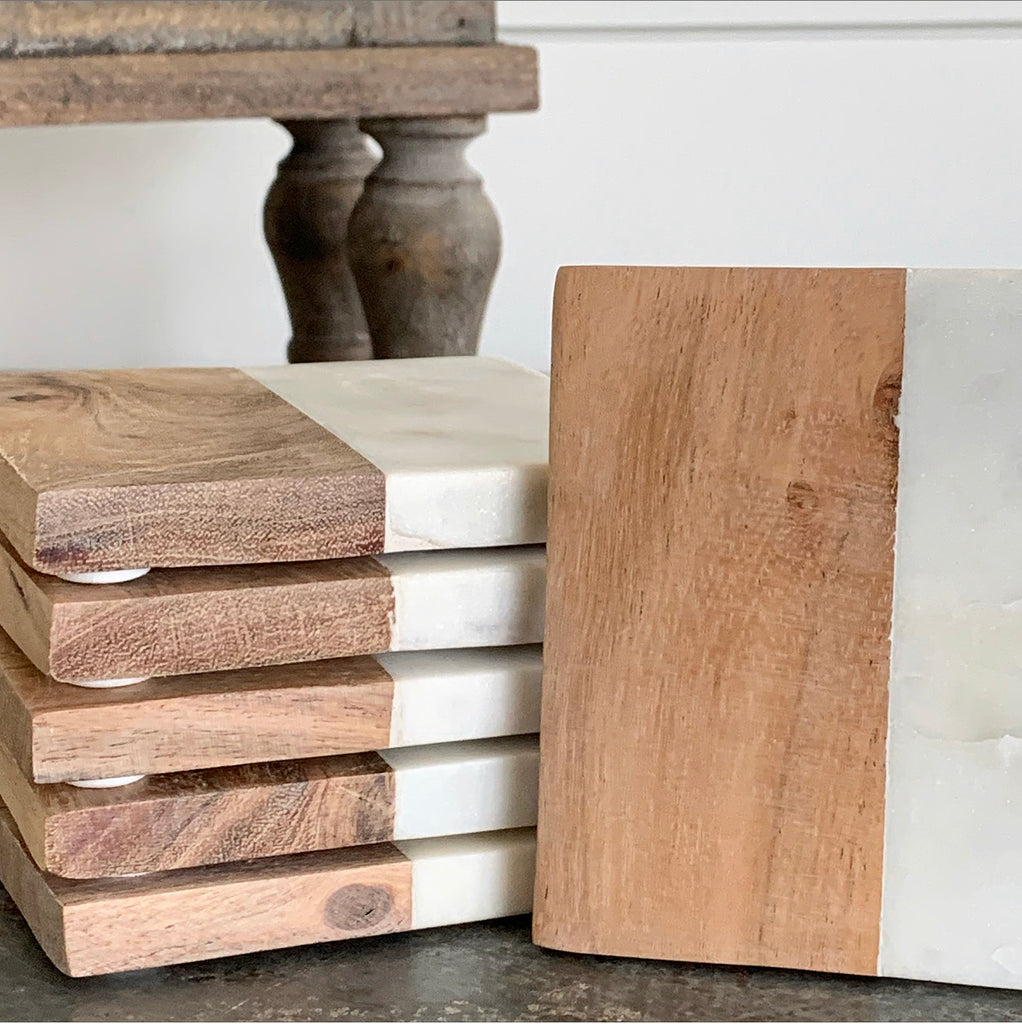 White Marble & Wood Coasters