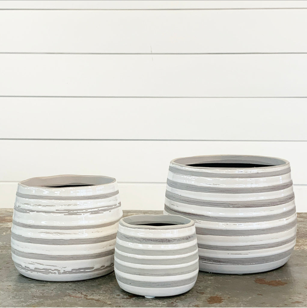 Gray & White Striped Planter