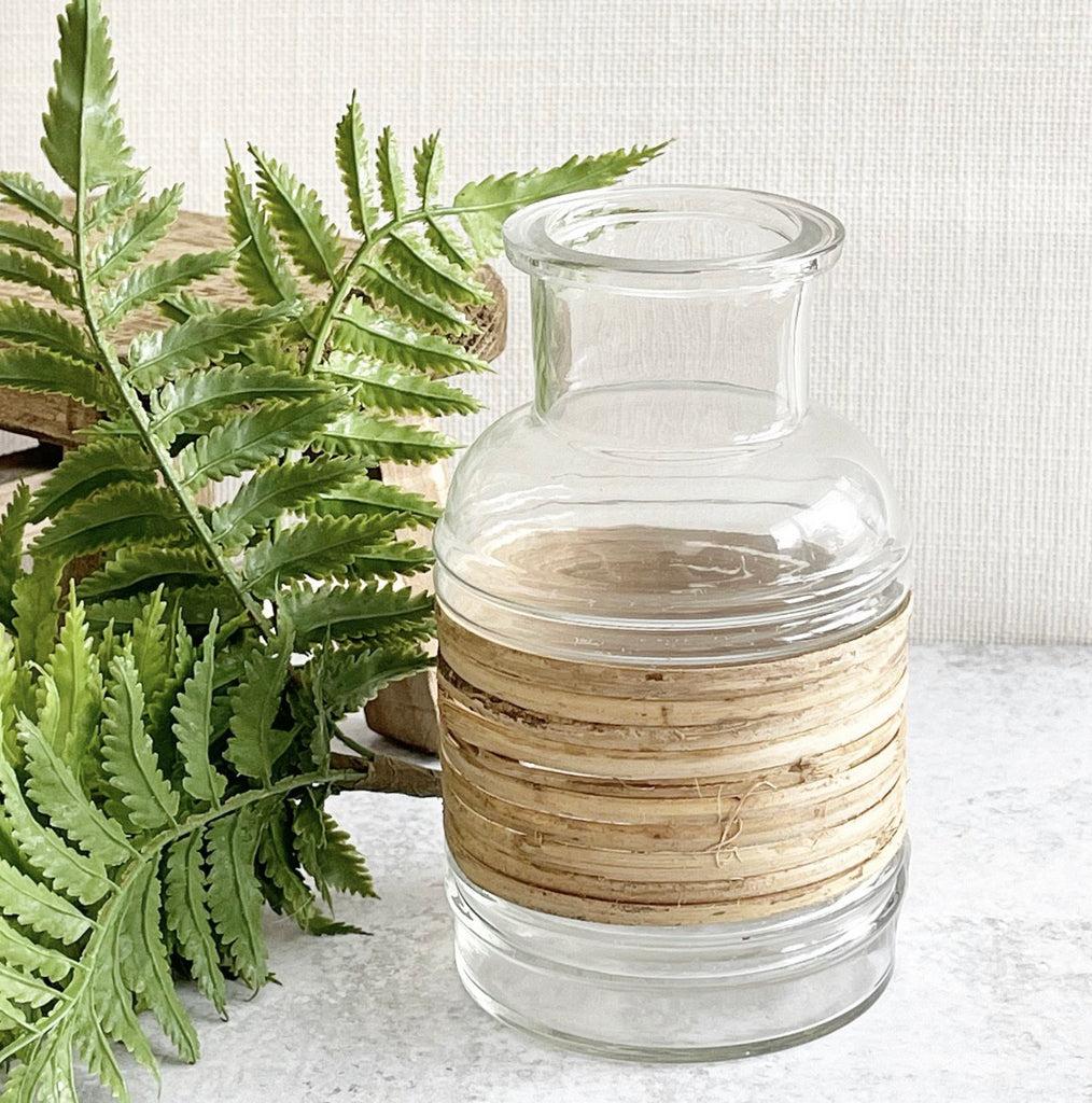 Wood Cane Wrapped Vase