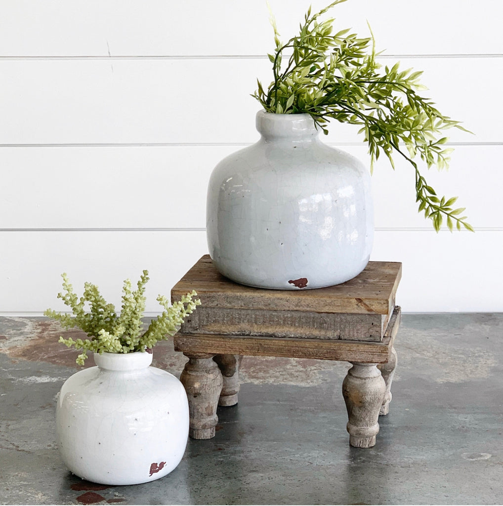 Blue-Gray Distressed Vase