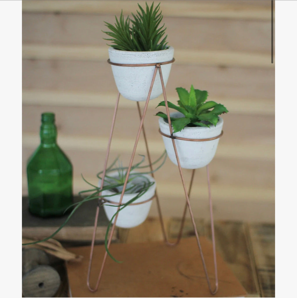 3 Pots on Copper Stand