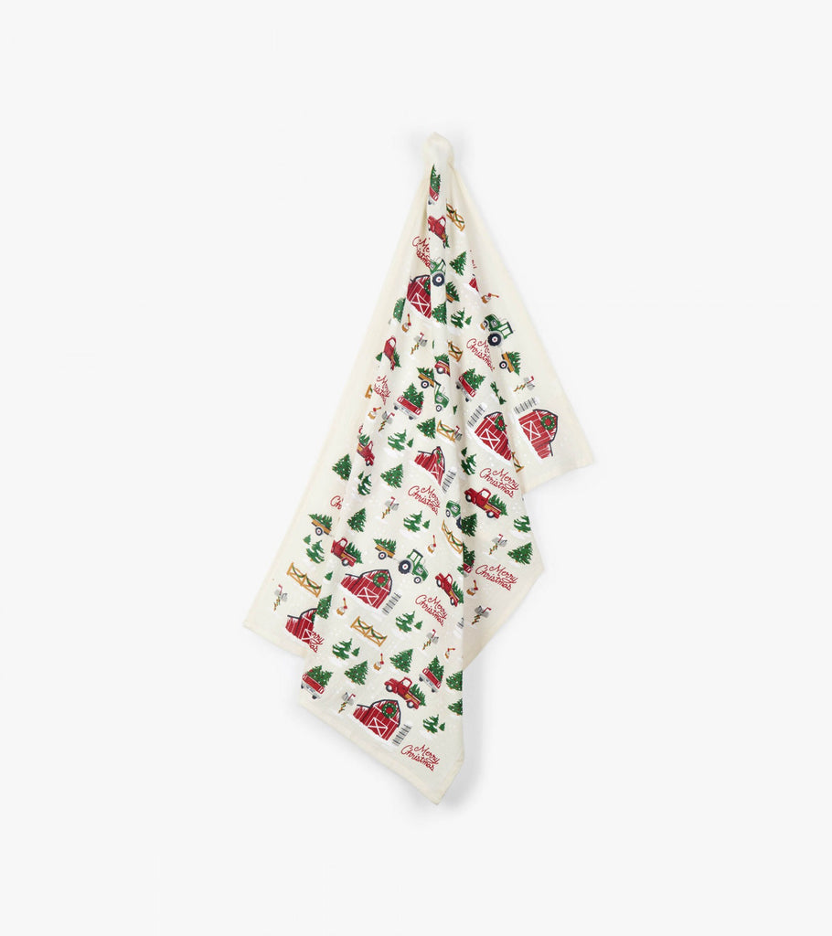 Christmas Farm Print Kitchen Towel