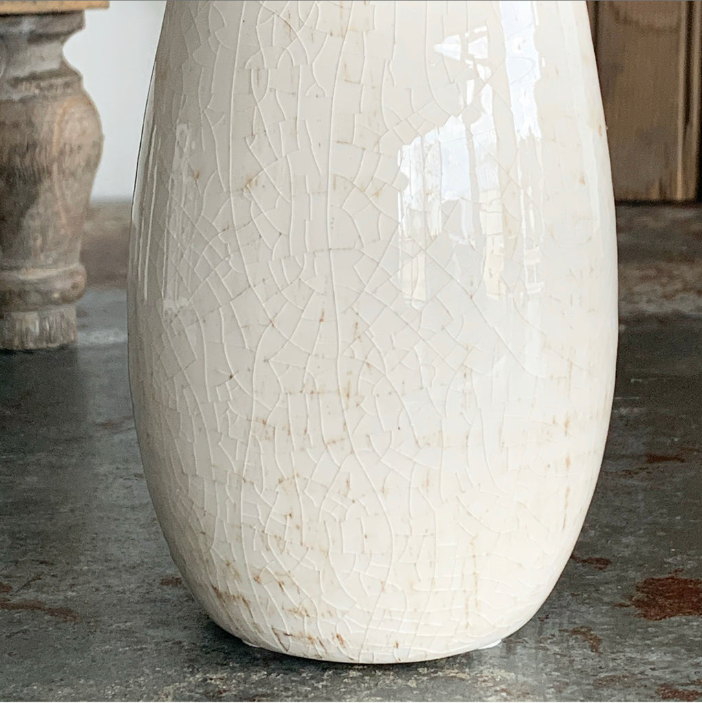 Crackled Cream Vase - Large