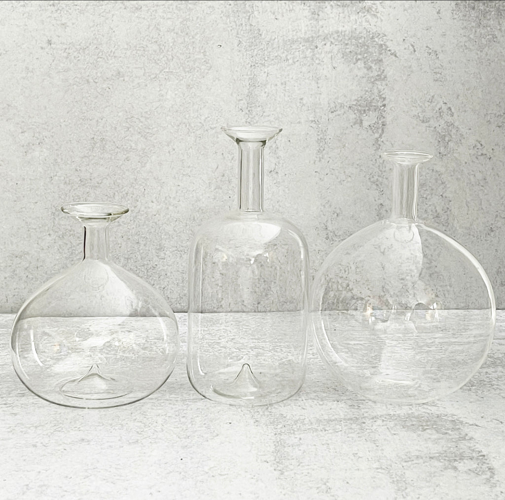 Clear Glass Bud Vases - 3 Sizes