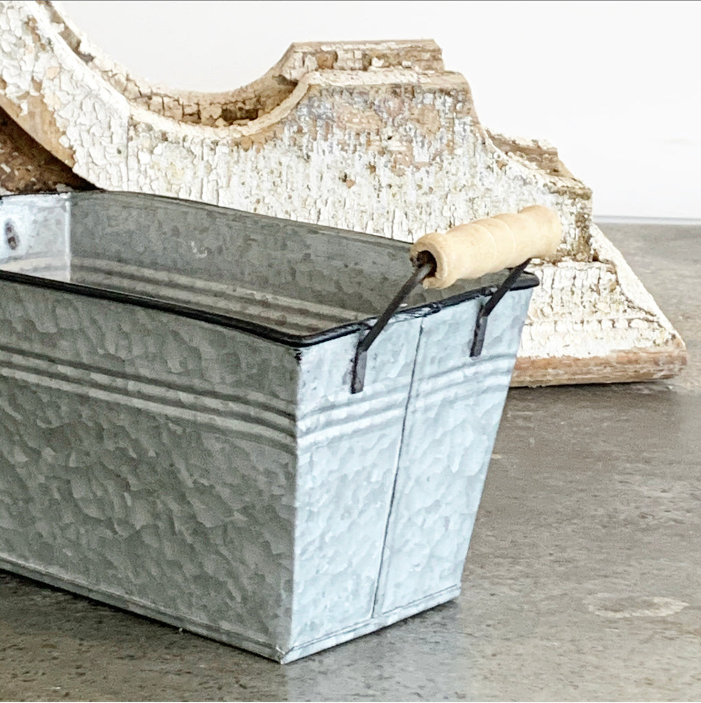 Galvanized Bucket w/ Wood Handles
