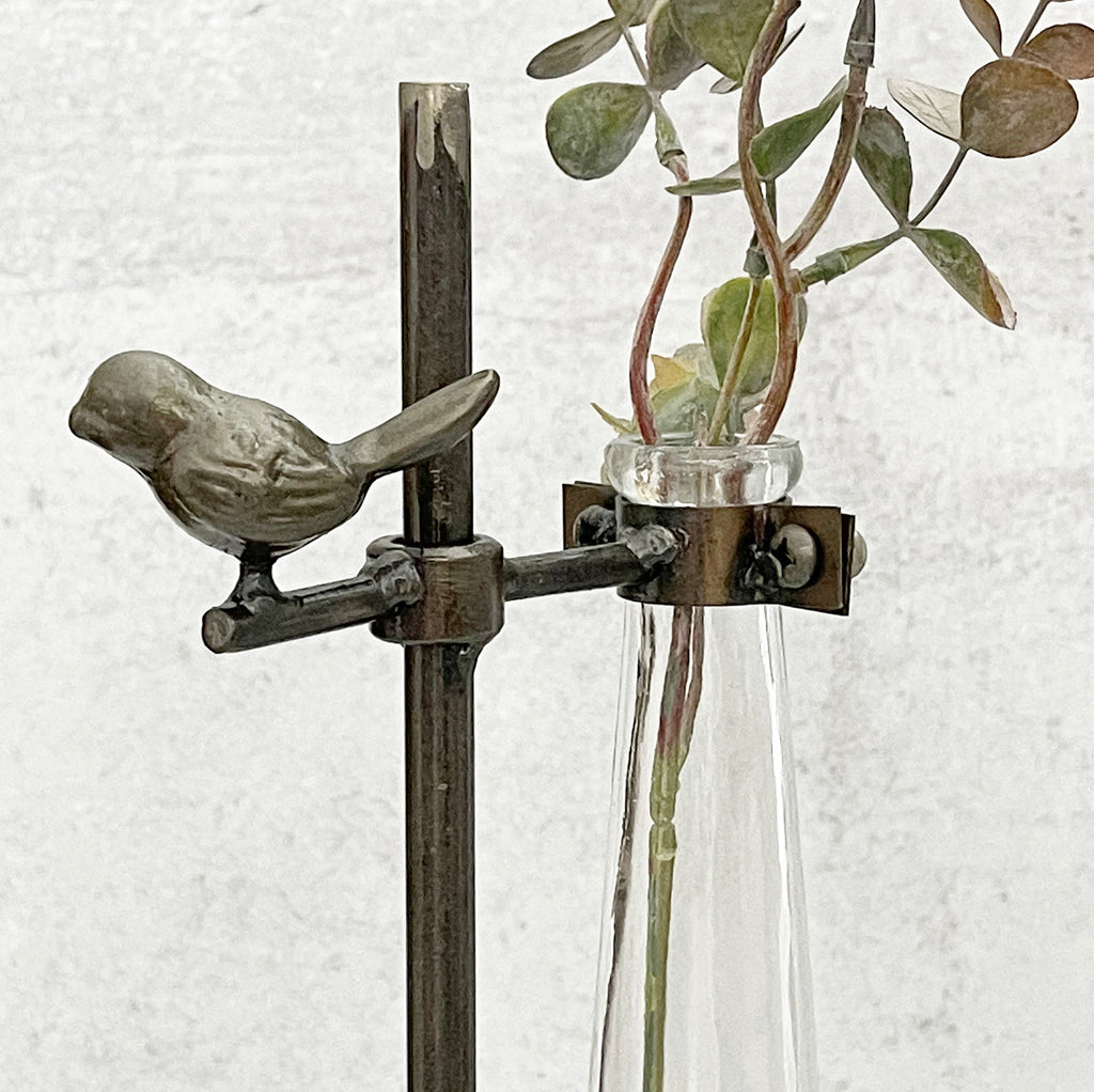 Metal Vase Stand With Bird LAST CHANCE