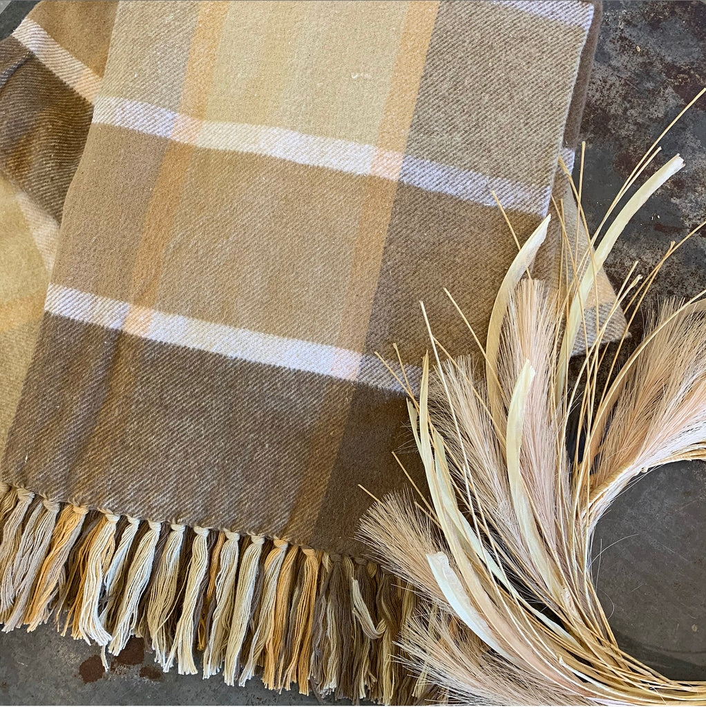 Camel Plaid Throw LAST CHANCE