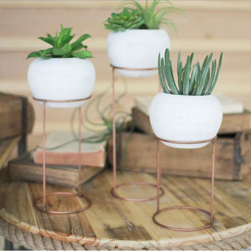 White Pots on Copper Stand