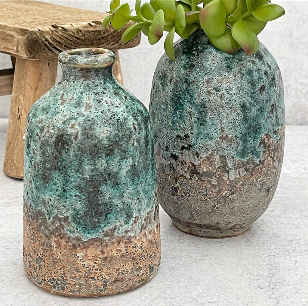 Turquoise Glazed Vases - 2 Sizes