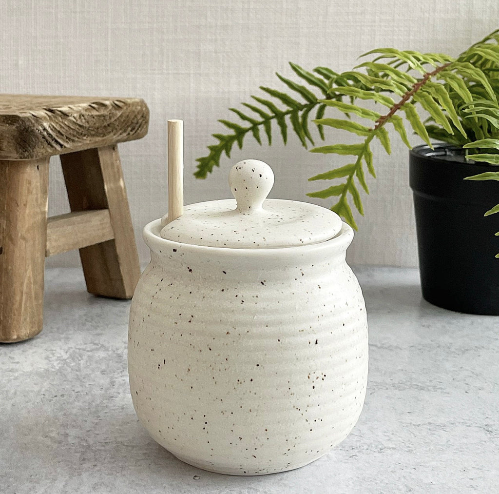 Speckled Stoneware Honey Pot - Jam Jar