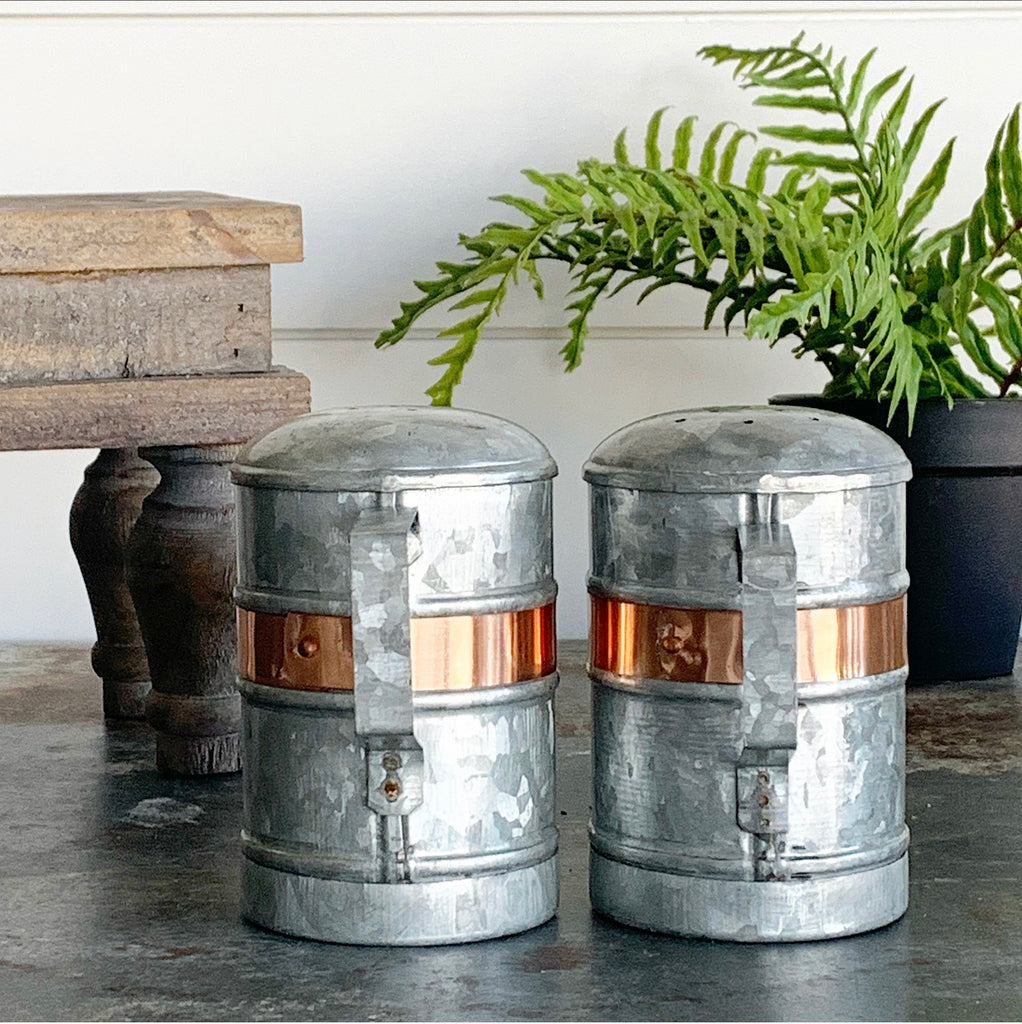 Copper & Galvanized Salt & Pepper Shakers