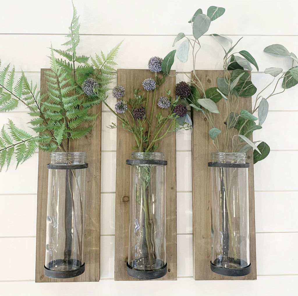 Wood & Glass Wall Vase