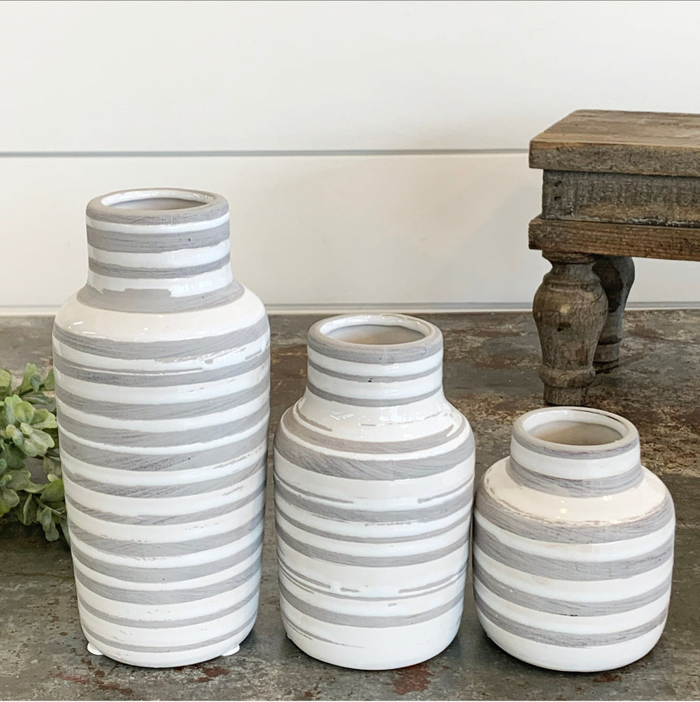 Gray & White Striped Bottle Vases