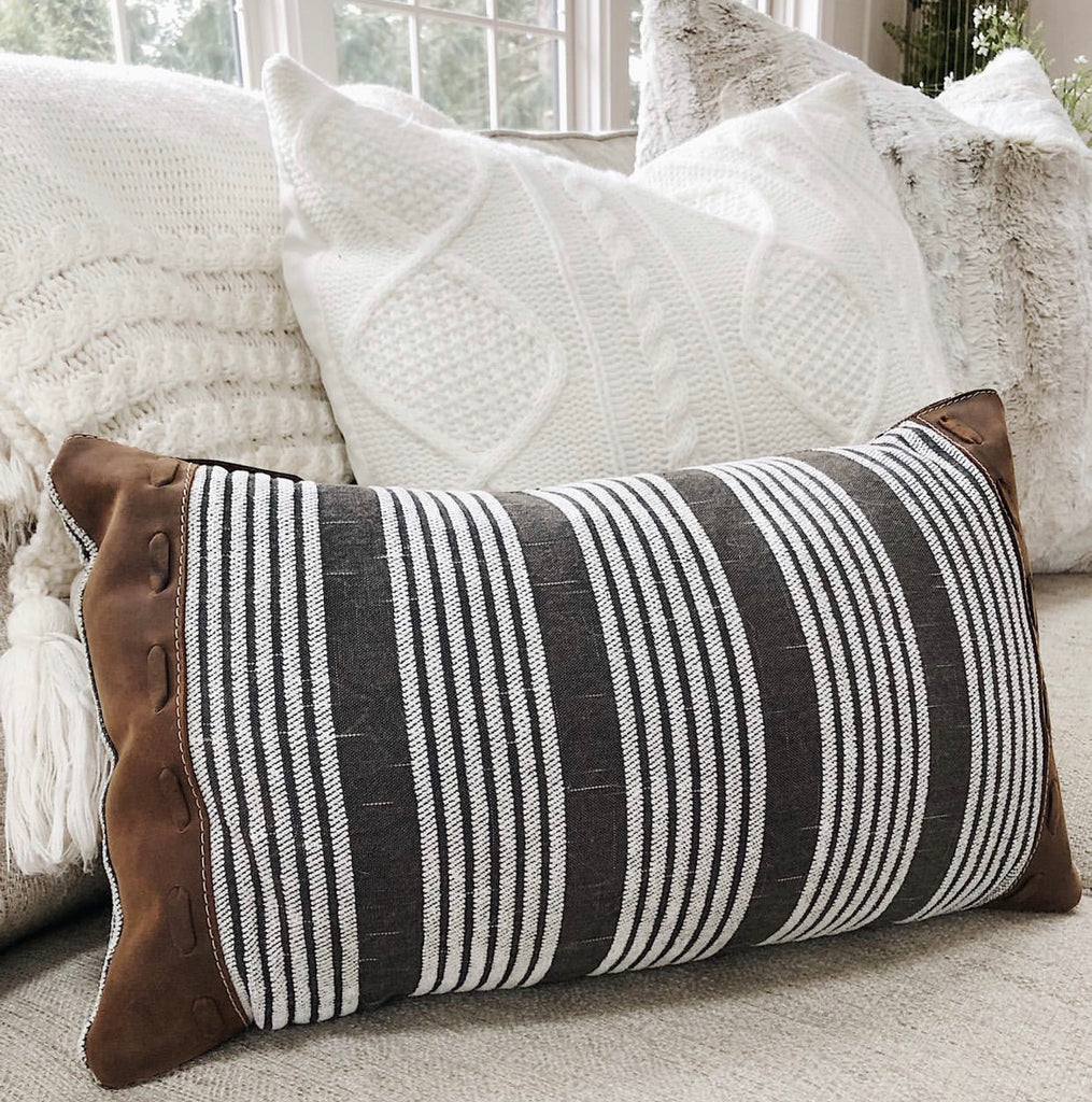 White Striped Leather Pillow