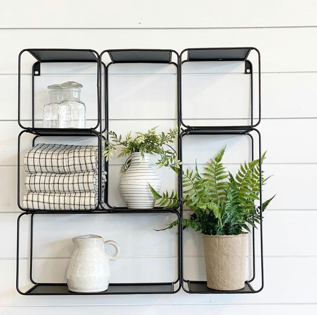 Black Square Metal Shelf