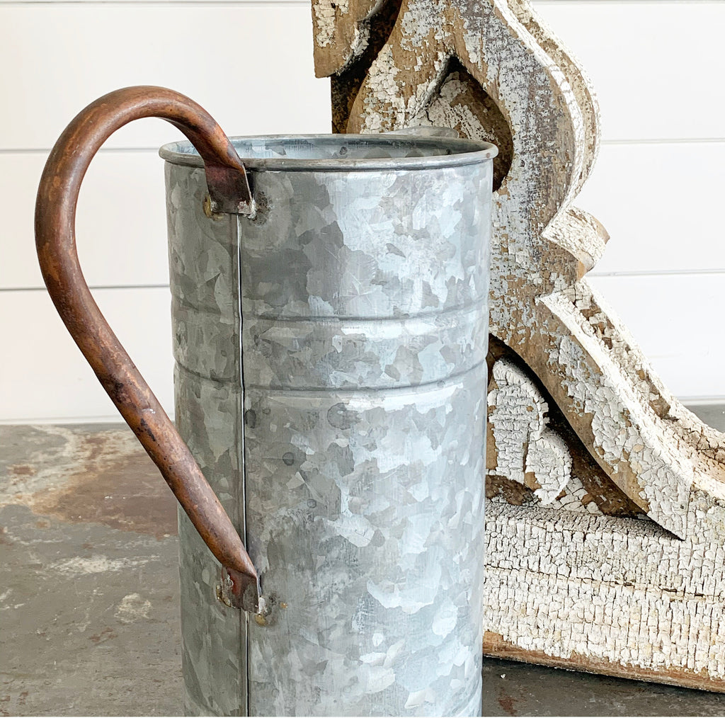 Galvanized Pitcher w/ Copper Handle