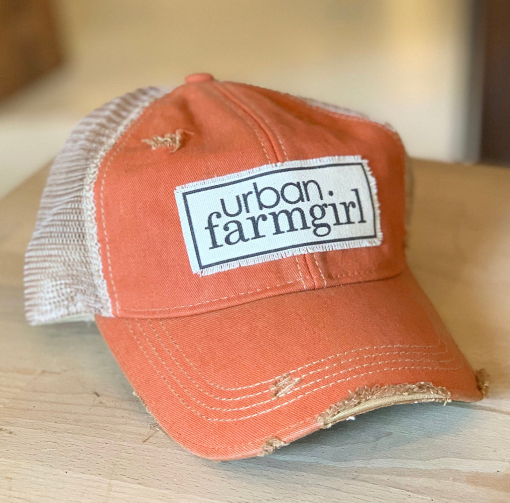 Vintage Orange Urban Farmgirl Baseball Cap
