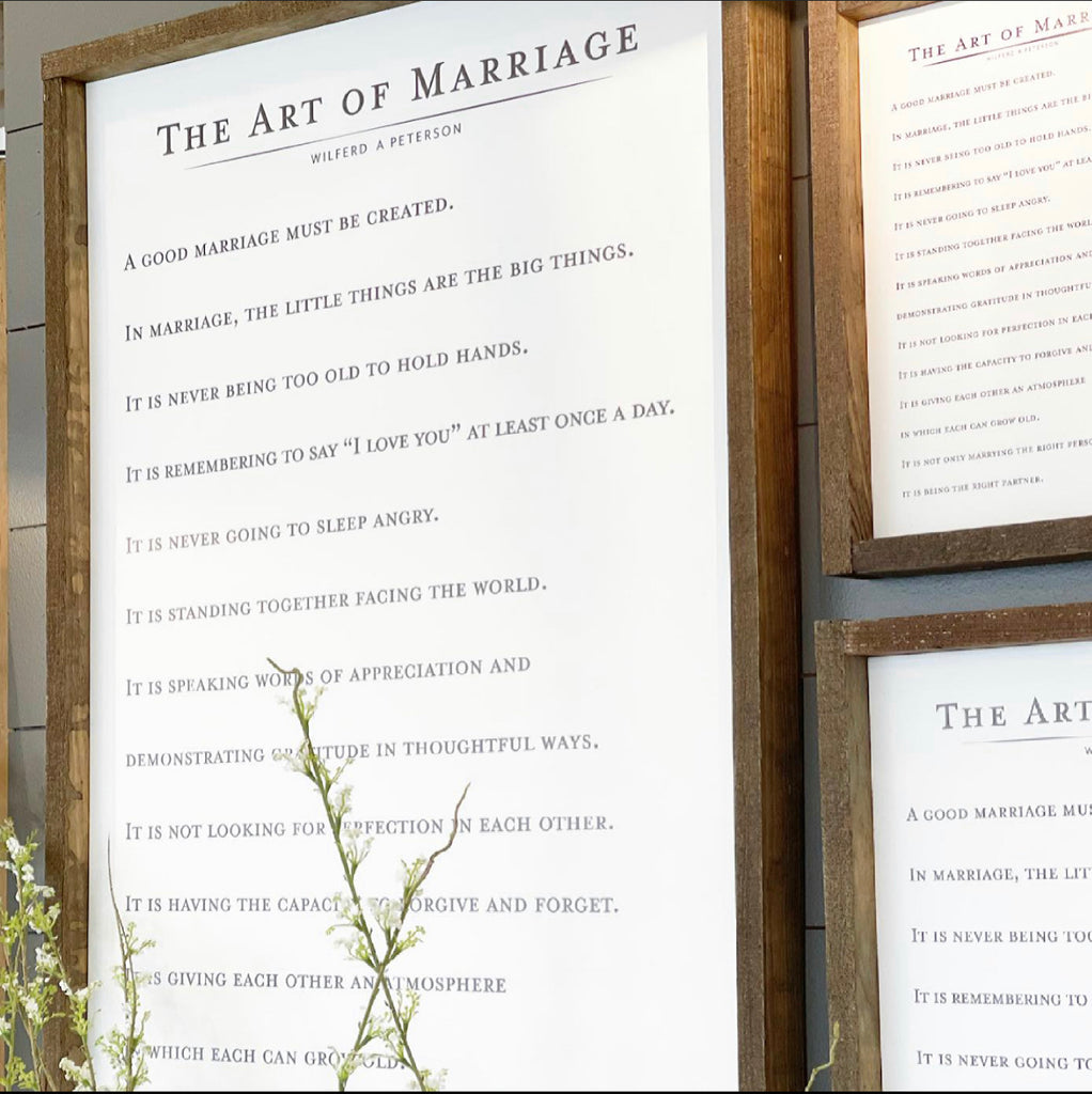Art of Marriage Sign - 2 Sizes